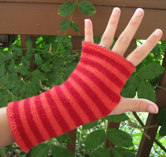 Fingerless gloves, arm warmers, txting gloves, gauntlets, commuter mitts, upcycled, eco sensitive, recycled sweater in Red and Orange