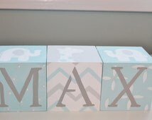 Personalized Baby Name Blocks- Jumbo Size- COOL SAFARI Theme