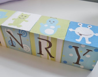 Personalized Baby Name Blocks- LITTLE MONSTERS Theme