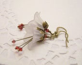 White and Red Lily Earrings Flower Earrings Lucite and Brass Earrings