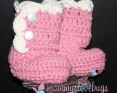 Classic Scallop Cotton Booties - Newborn through 24 Month Sizes