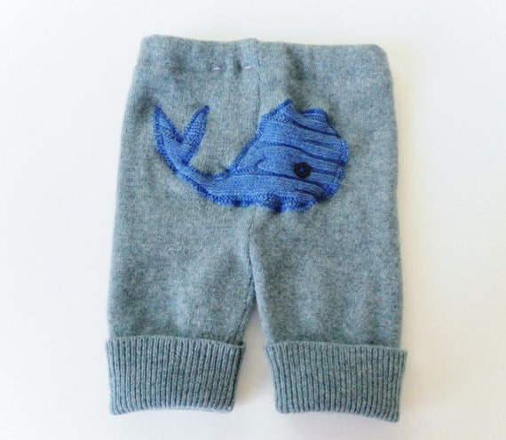 Whale Longies - Size 6 to 12 months