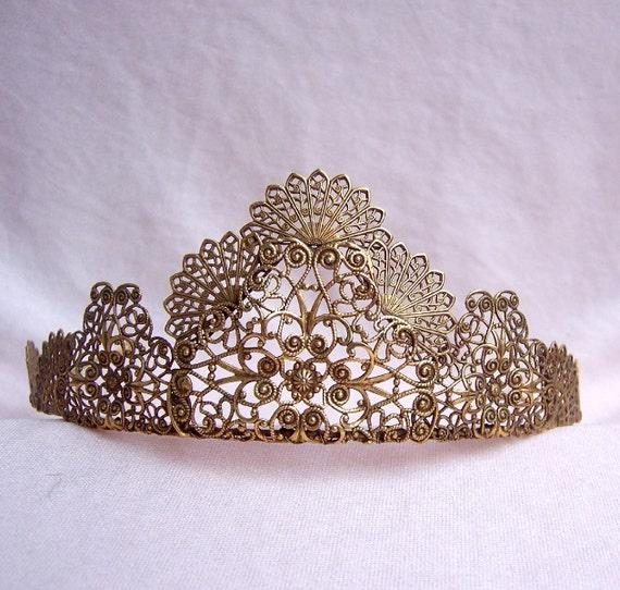 Vintage bridal tiara antiqued gold tone filigree handmade designer bride bridesmaid hair accessory with provenance