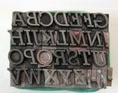 Stymie Italic 18 pt Metal Letterpress Type Uppercase Alphabet 32 pc Vintage