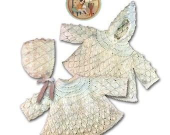 Popcorn Angel Hoodie and Bonnet For Infants- Vintage Digital Knitting Pattern for Infants - PDF Email Delivery - PrettyPatternsPlease