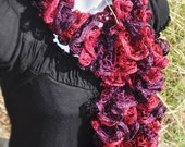 Tango Sparkle Ruffle Scarf, Lacy Scarf, Frilly Scarf in Deep Red and Deep Purple