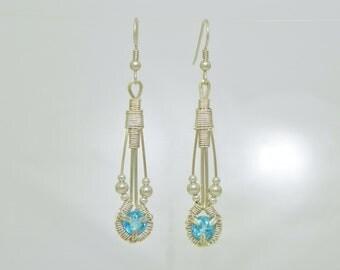 Swiss Blue Topaz Sterling (Argentium) Silver Wire Wrap Droplet Earrings