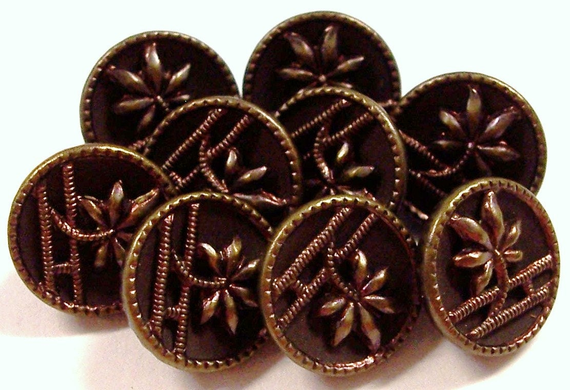Vintage Metal Buttons Antique Victorian Metal Buttons Red Tint