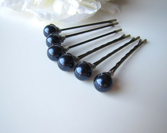 Dark Navy Blue Hair Pins Pearls, Swarovski 10mm OR 8mm