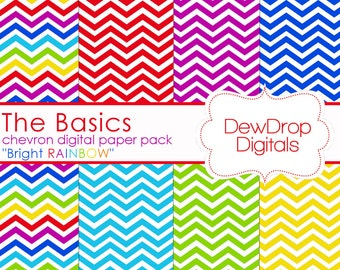 SALE Digital Paper Pack Chevron Rainbow Scrapbooking INSTANT DOWNLOAD Red Green Blue Yellow Purple papers basics