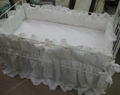 """Vintage White Washed Linen Crib Bedding-2"""" Ruffled Bumpers-Sash Ties-Extra Long Storybook Crib Skirt-Classic Fairy Tale Style Crib Bedding"""