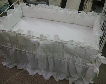 "Vintage White Washed Linen Nursery-2"" Ruffled Bumpers-Sash Ties-22"" Storybook Crib Skirt-Fairy Tale Style Crib Bedding"