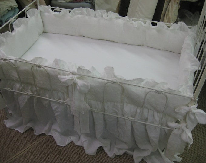 """Featured listing image: Bright White Washed Linen Crib Bedding-2"""" Ruffled Bumpers-Sash Ties-Storybook Crib Skirt"""