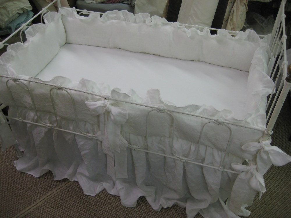 Vintage White Washed Linen Crib Bedding 2 Ruffled