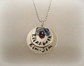 Double Disc Stamped Sterling Silver Necklace - 3 Birthstone Crystals