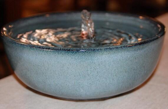 "Ceramic Cat Fountain, Handmade, Foodsafe - ""Caribbean Shore"" - 9 Plus Inch Diameter"