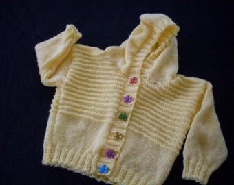 Hand knit girls sunshine yellow hoodie cardigan