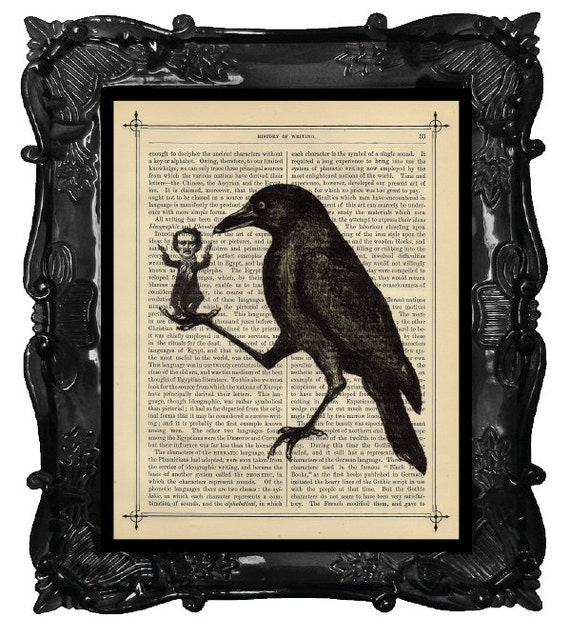 Edgar Allan POE Art Print - Crow Raven holding Edgar Allan POE on antique book Page POE Art Print