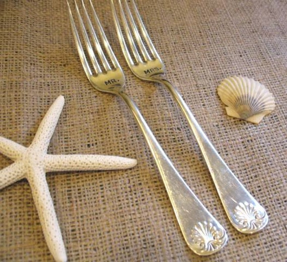 LAST SET Vintage Silverware Wedding Reception Mr. Mrs. Sweetheart Forks Shell Style Beach Wedding Table Setting