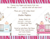 10 Jungle Twins Baby Shower Invitations with Envelopes.  Free Return Address Labels