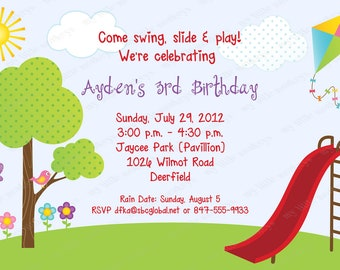 10 Park Birthday Invitations with Envelopes.  Free Return Address Labels