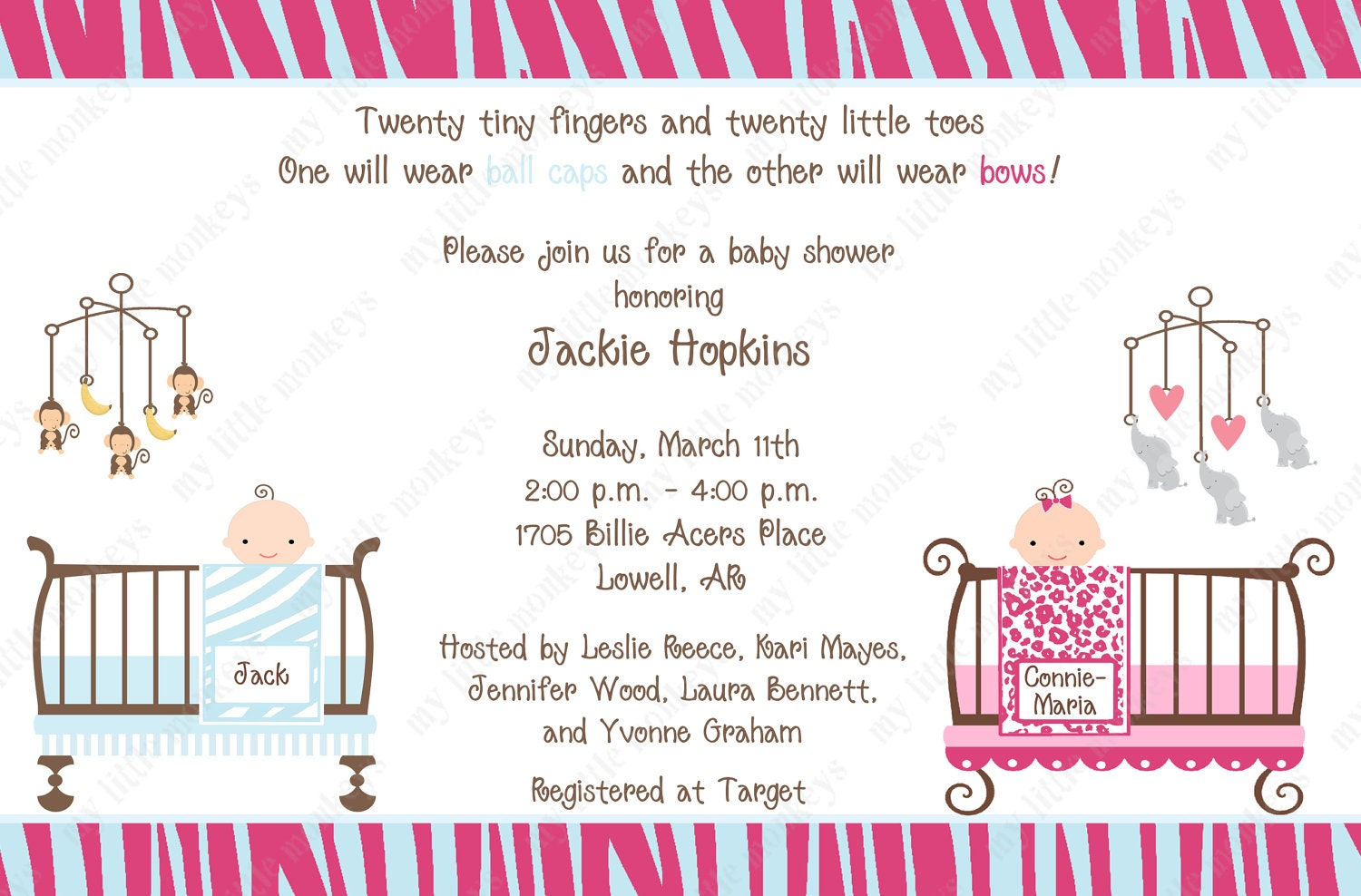 10 jungle twins baby shower invitations with envelopes free