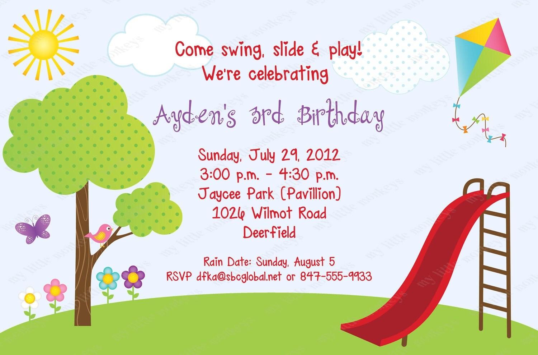 10 Park Birthday Invitations with Envelopes Free Return – Park Birthday Invitations