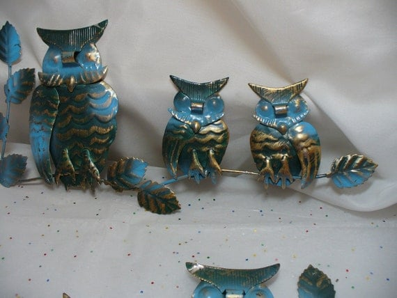 1970s Set of Turquoise and Gold Metal Owls Wall Art.  Reserved for Bryan Only.