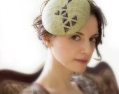 Accessory-Light-Green-Cocktail-Hat-Stud-Trim-Head-Piece-Fascinator-Straw-Light-Weddings-Races-Rivet - EllaGajewskaHATS
