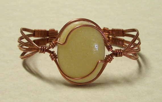 Copper Wire Wrapped Yellow Gemstone Cabachon Cuff Bracelet-7 inch-Handmade Jewelry