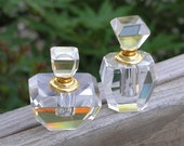 Vintage Crystal Perfume Bottles Beautiful Faceted Clear Instant Collection Lot