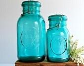 Vintage Ball Bicentennial Aqua Blue Canning Jars