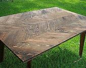 Furniture Reclaimed Wood Table Dining Room Chevron Herringbone Home and Living