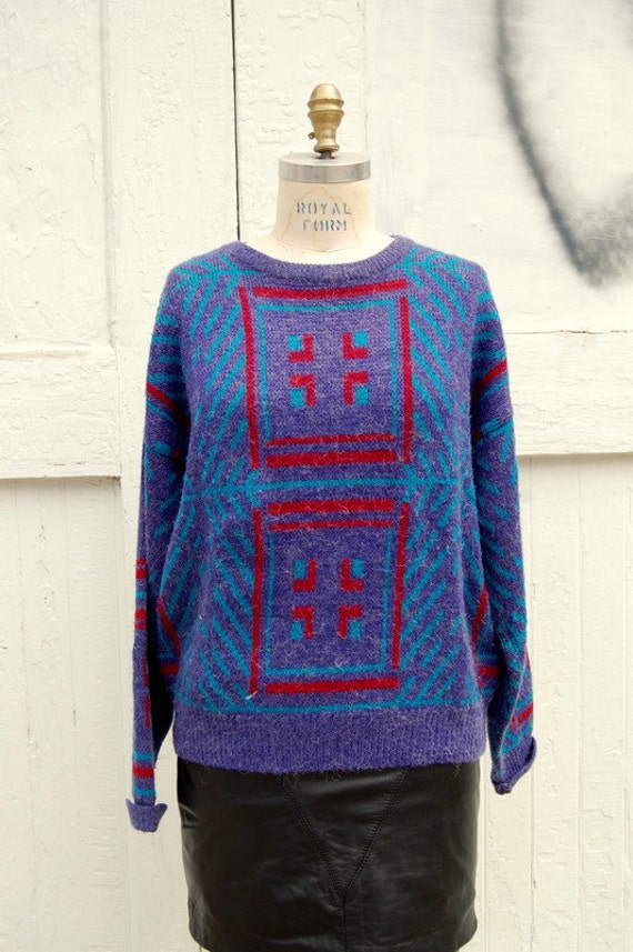 Purple/blue/red southwestern motif sweater 1990s 1980s