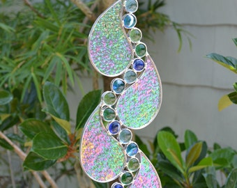 Abstract Tear Drop Stained Glass piece