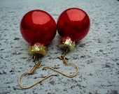 Metallic Tomato Red Christmas Ornaments - Earrings