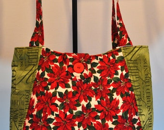 Poinsettia Print Quilted Hobo style handbag purse