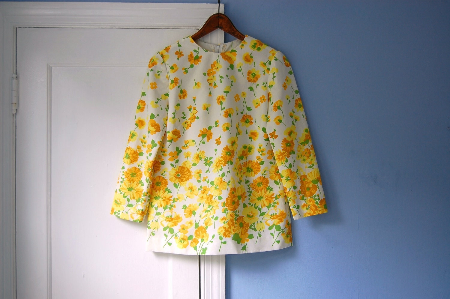 Floral blouse vintage yellow shirt 60s top by ottolinesoddities