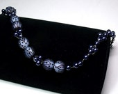 Navy Blue Glass with Woven Pearls by Cara's Creations