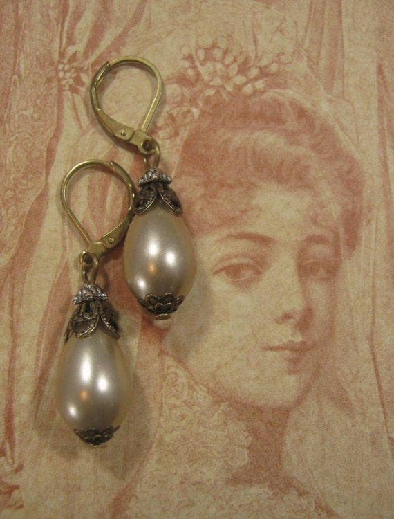 Downton Abbey Jewelry - Pearl Earrings - Victorian Earrings -  Edwardian Jewelry - Titanic Jewelry - Victorian Costume