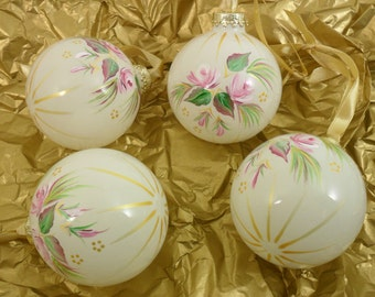 Pink Roses Christmas Ornaments Glass Hand Painted Set of 4