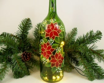 Lighted Wine Bottle Three Red Poinsettias Hand Painted 1 Liter - Gold Bow
