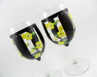Wine Glasses Hand Painted Wine Glasses Black Stripes Yellow Flowers Set of 2