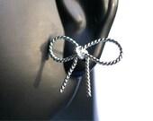 Sterling silver bow earrings silver ribbon earrings sterling silver studs silver post earrings Etsy jewelry