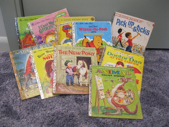 10 Worn Little Golden Books for Arts & Crafts