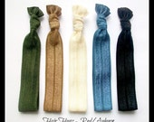 HAIR HUGZ Ties - Compliment Red/Auburn Hair Shades - Set of 5 Satin Elastic Hair Tie Bracelets Olive, Mocha, Cream, Smoke Blue, Black