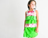 Watermelon, Pink and Green Ruffled Skort ( skirt and shorts connected) Set, Outfit, sleeveless, Summer, Bright, ooak one of a kind, size 6/7