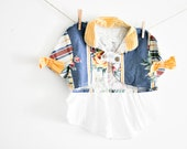 Girls size 10-14 Fishtale Story Bolero jacket, ready to ship, OOAK one of a kind, vintage washed