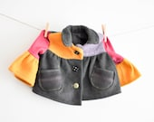Quirky Coat Girls size 2-4, Must Like Hand me downs, Handmade 2nd life Jacket, ready to ship