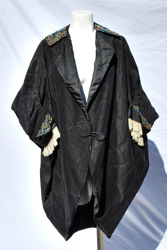 Victorian antique jacket edwardian cape jacket cocoon style silk color hand embroidery lace cuffs MINT by thekaliman